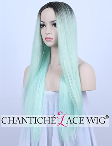 Chantiche Cheap Ombre Long Straight Synthetic Wigs for Christmas Realistic Looking 2 Tones Black Roots to Green Full Wig for Women (Cheap Long Wigs)