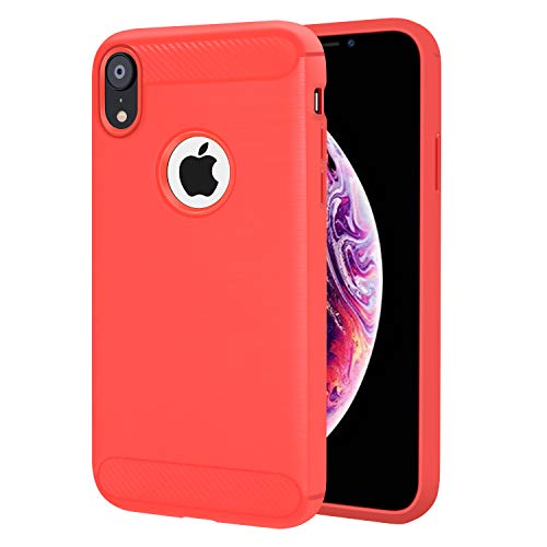 Compatible for iPhone Xs Max Case,Clear Anti-Scratch Shock Absorption Cover Case for iPhone Xs Max 6.5 Inch,Fiber Sreipping Fashion Design (2018 Release)(Red)
