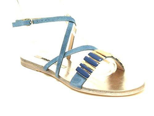 Manas Lea Foscati sandalo donna tacco basso in camoscio colore jeans