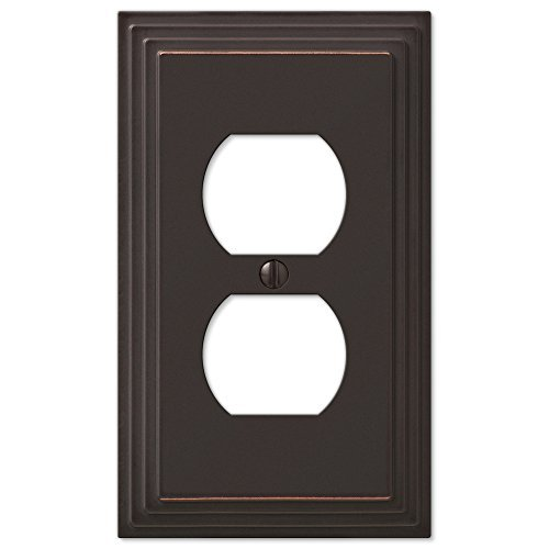 Step Design Duplex Wall Switch Plate Outlet Cover - Oil Rubbed Bronze - Dark Switchplates