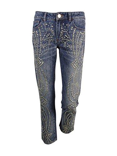 Studded Vintage Jeans - Michael Kors Women's Sexy Boyfriend Studded Jeans (0, Medium Vintage Wash)