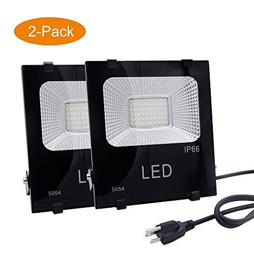 LED Flood Work Light Outdoor 10W(50W Equivalent),900lm 6000K Daylight White,IP66 Waterproof,4ft Cord US-3 Plug Yoke Mount,Super Bright Security,Yard,Garage, Garden,Playground,Basketball Court,2 Pack [並行輸入品] B07R7RF42V