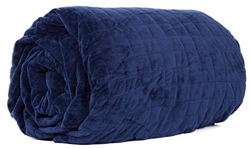 Class Cotton Weighted Blanket Cover for Adults and Kids | Removable and Washable Duvet Cover for Bedding Blanket | Ultra-Soft Quilted Minky Cover | 60X80 | Navy Blue