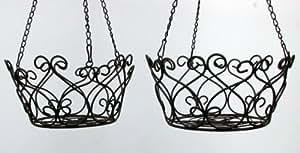 Juego de 2macetones, cesta colgante Hierro rústico, diámetro de 26y 24cm