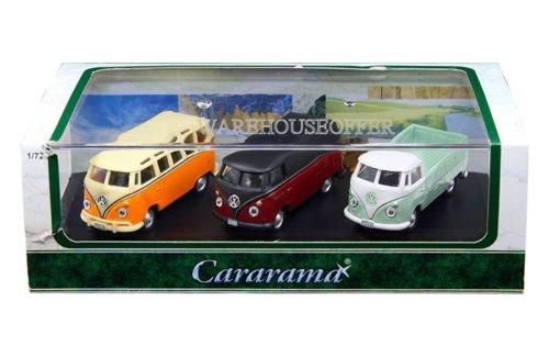 Cararama Volkswagen Samba Van, Bus, & T1 Pickup with Acrylic Case Diecast Vehicles