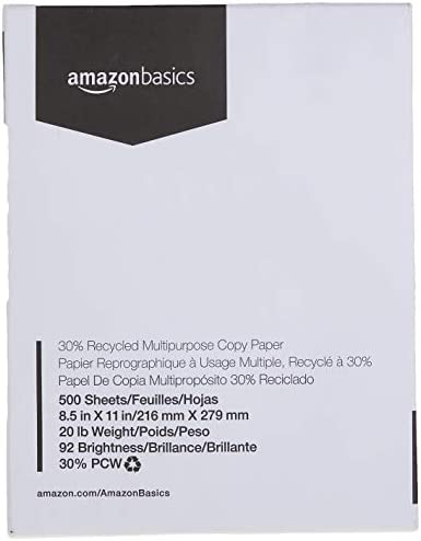 Amazon Basics 30% Recycled Multipurpose Copy Printer Paper - 8.5 x 11 Inches, 1 Ream (500 Sheets)