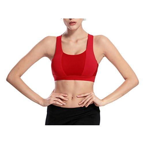Bigood Femme Vogue Brassière sans Armature Souple Sport Soutien-gorge Uni Course Yoga