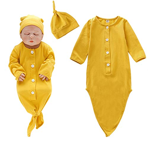 Baby Gown Newborn Cotton Nightgown with Button Long Sleeve Baby Sleeping Bags Baby Boy Girl Coming Home Outfits Set with Hat Set -