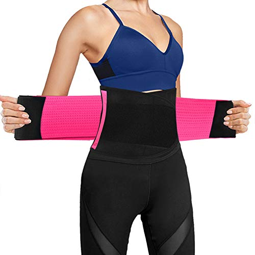 Ufanore Waist Trainer Belt for Men & Women, Breathable Abdominal Waist Trimmer, Stomach and Low Back Support, Adjustable Waist Cincher Trainer for Slimming Body (Pink, S) (Waist Trimmer Sleep)