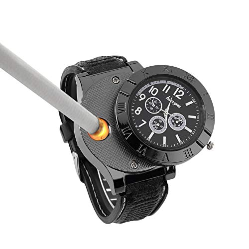 - New Military USB Lighter Watch Men's Casual Wristwatches with Windproof Flameless Cigarette Cigar Lighter (Gun Color)
