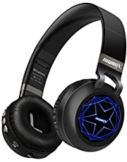 Riwbox WT-8S Bluetooth Headphones, Led Light Up Wireless Headphones Over Ear Hi-Fi Stereo Foldable Wireless/Wired Headsets With Mic And TF-Card Compatible for iphone ipad Laptop TV