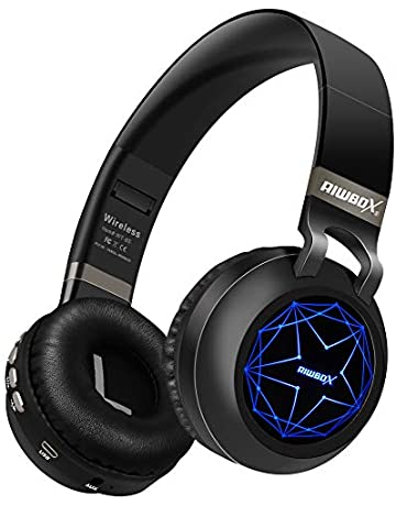 40bbdbd5cc3 Riwbox WT-8S Bluetooth Headphones, Led Light Up Wireless Headphones Over  Ear Hi-