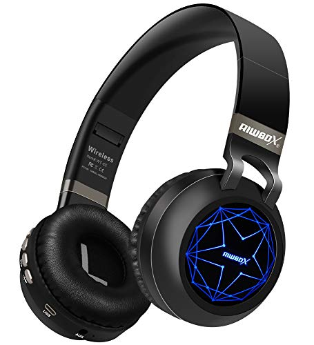 Riwbox WT-8S Bluetooth Headphones, LED Light Up Wireless Headphones Over Ear Hi-Fi Stereo Foldable Wireless/Wired Headsets with Mic and TF-Card Compatible for iPhone ipad Kindle Laptop TV (Black) (Big And Loud Cats Don T Dance)