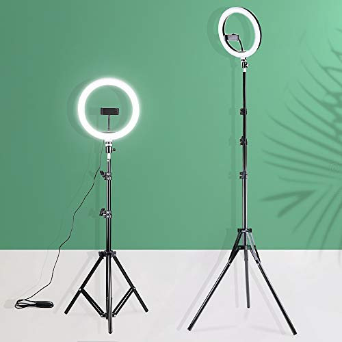 HOTNIX 7 Feet Long Tripod Stand (84 Inch) with 12″ LED Ring Light Combo for Tiktok MX Taka tak Instagram Reels YouTube vlogging Vigo Video Shooting and Recording with Mobile Phone Camera Clip Setup