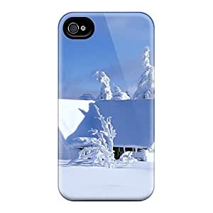 Fashion Tpu Case For Iphone 4/4s- Mountain Chalet Covered With Snow Defender Case Cover