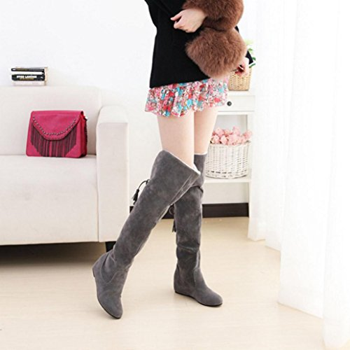 Lace Gray Comfortable up Plush Thigh Knee Over Scrub Women Elevin High Boots Warm Boots TM Winter zqwvqaxpZ