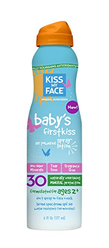 Air Kiss (Kiss My Face Baby's Air Powered Spray Lotion SPF 30, Fragrance Free 6 oz)