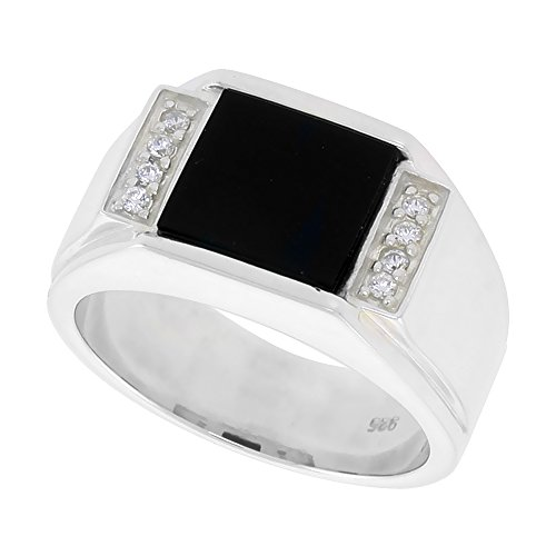 Sterling Silver Mens Square Black Onyx Ring Grooved Edges CZ Accent 7/16 inch wide, size 9