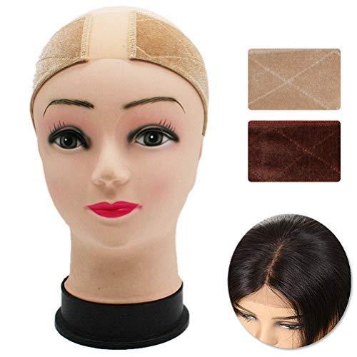 FASHIONROAD 2Pcs Lace Wig Grip, Velvet Lace Wig Grip, Adjustable Comfort No-Slip Wig Band for Women (Beige, Light Brown)
