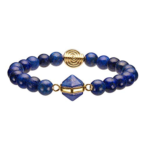 Top Plaza Natural Gemstone Beads Lapis Lazuli Bracelet Chakra Healing Crystals Handmade Stretch Bracelets with Hexagon Prism Gold Spiral ()