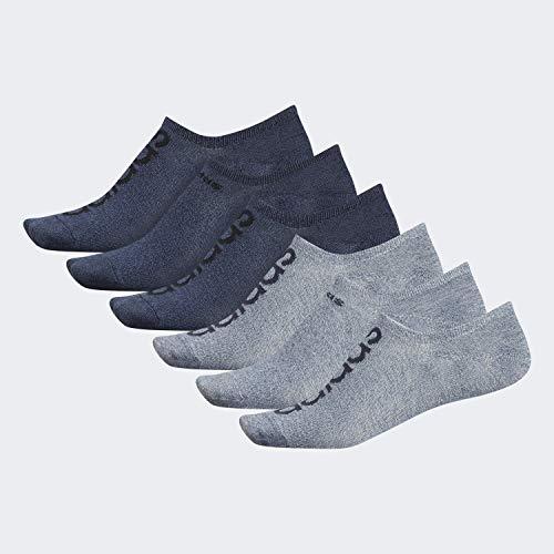 adidas Men's Superlite Linear Super No Show Socks (6-Pair), Ash Silver - Tech Ink Grey Marl/Legend Ink Blue Lege, Large, (Shoe Size 6-12) (Silver No Show Socks)