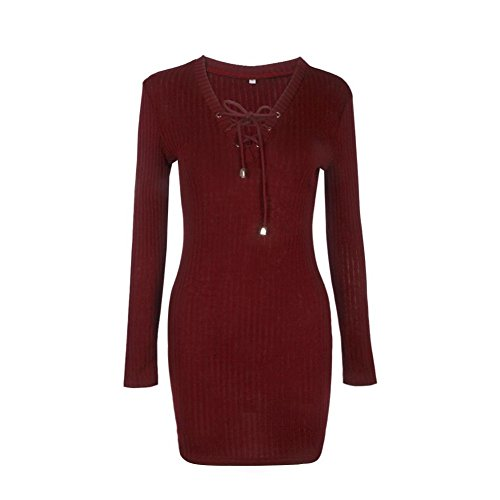 Flank Women Long Sleeve Knitted BodyCon Sweater Dress outlet