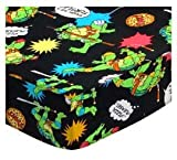 SheetWorld Fitted Pack N Play Sheet 29.5 x 42 - Ninja Turtles Black - Made in USA