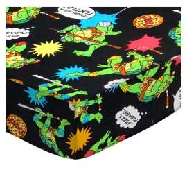 SheetWorld Fitted Pack N Play Sheet 29.5 x 42 - Ninja Turtles Black - Made in USA by SHEETWORLD.COM