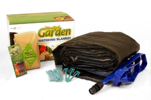 EvoOrganic WFGB_KIT 8-foot x 10-foot Weed Free Garden Watering Blanket Starter Kit With Header Hose, Fabric Stakes & Organic Fertilizer
