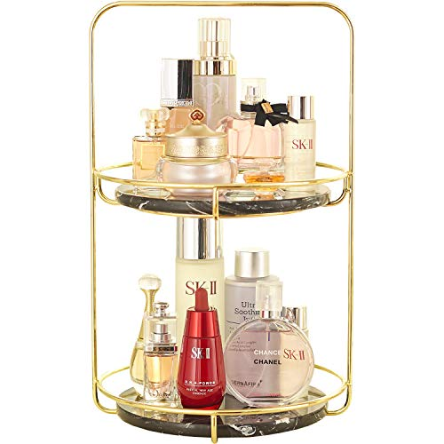 2 Layer Bathroom Tray with Removeable Marble Large Vanity Tray, Double Jewelry Tray, Two-Tiered Perfume Tray, Daily Necklace Holder,Jewelry Tree Stand, Dessert Cupcake Stand in Gold ... (Hander) (Tray Large Perfume)