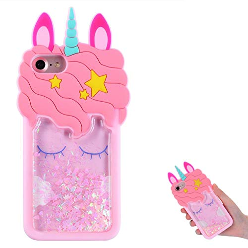 TopSZ Quicksand Unicorn Bling Case for iPod Touch 5/6,Cute Silicone 3D Cartoon Cool Kawaii Animal Cover,Shockproof Soft Skin,Funny Unique Character Cases for Kids Girls Teens Guys(iPod Touch 6th/5th)