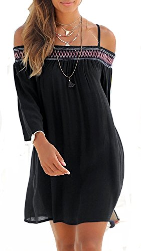 ROSKIKI Womens Summer Casual Ethnic Embroidered Bohemian 3/4 Sleeve Sundress Beach Dress Black XXL