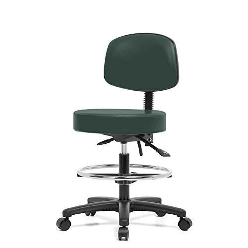 Top Medical Stool with Back, Seat Tilt and Chrome Footring 21