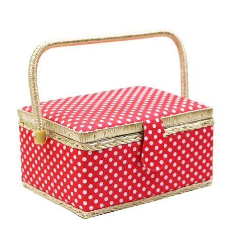 Polka Dot Sewing Basket with Handles Home Storage Box Mother's Day Gift, 31 PCS Sewing Kit Accessories, 9.4'' X 6.9'' X 5.9'' 1/Box (7 Boxes) by D&D