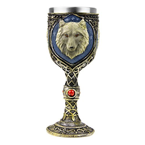 Cool Skull Wine Golbet -- Totem Wolf Head Golbet Drinking Cup Stainless Steel Demitasse,Skeleton Chalice,Collectible Halloween Party Home Decor Gift ()