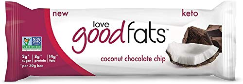 Love Good Fats Bars – Coconut Chocolate Chip – Keto-Friendly Protein Bar with Natural Ingredients – Low Sugar, Low Carb, Non GMO, Gluten & Soy Free Snacks for Ketogenic Diets – (12 Count) 1