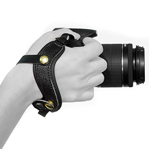 Megagear MG896 Genuine Leather Wrist StrapComfort Padding, Enhanced Hand Grip Stability and Security for All Cameras (SLR/DSLR) One Size Fits All, Black