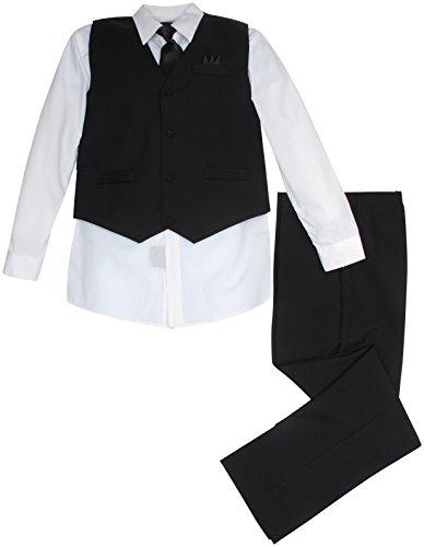Vittorino Boys 4 Piece Suit Set with Vest, Shirt, Tie, Pants, Handkerchief