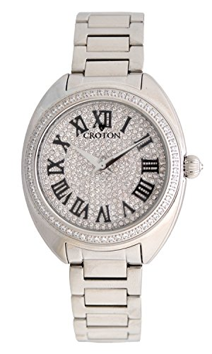 Croton Ladies Silvertone Swiss Quartz Watch with Set CZ Bezel and Pave Dial - CN207564SSPV