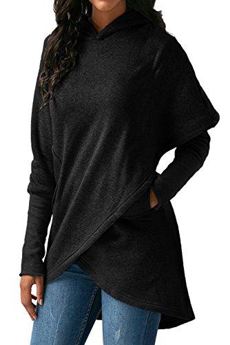 HUUSA Sexy Womens Asymmetric Hem Hoodie Long Sleeve Sweatshirt Tops