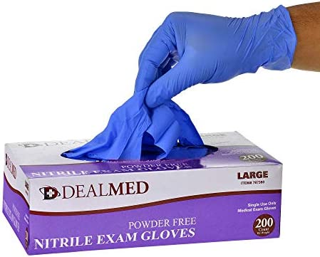 Dealmed Brand Nitrile Medical Grade Exam Gloves, Disposable, Latex-Free, 200 Count, Size Large