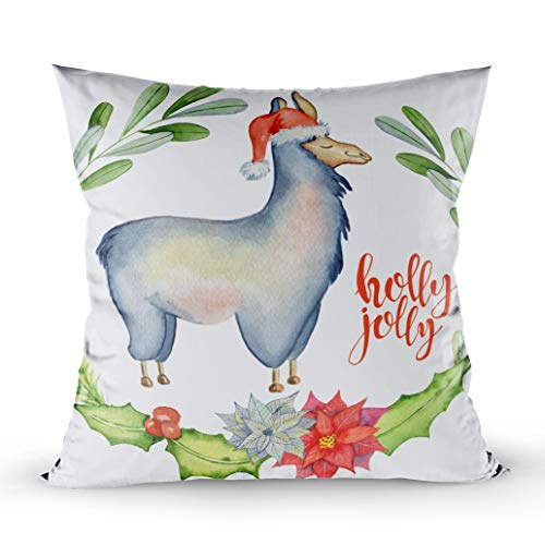 - Shorping Holiday Pillow Covers, Zippered Covers Pillowcases 18X18Inch Throw Pillow Covers Christmas Watercolor Lama with Floral Wreaths and Santa Hat Holly Jolly Watercolour for Home Sofa Bedding
