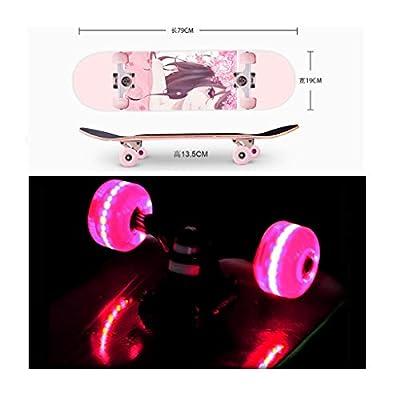 Surfing Street Highway Pink Girl In-game Character Skateboard Beginner Double Warped Glide Deck Teens Four-wheel Skateboard Student Dancing Skateboard With Light Up Wheels Kids U-shaped Profession Ska : Sports & Outdoors