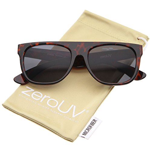 zeroUV - Modern Super Flat-Top Wide Temple Horn Rimmed Sunglasses 55mm (Shiny Tortoise / - Flat Wayfarer Top