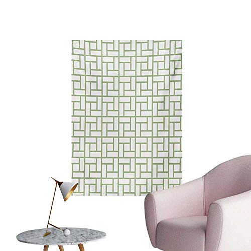 Anzhutwelve Green Photographic Wallpaper Maze Shaped Squares Rectangulars Geometrical Lines Modern Image PrintPistachio Green and White W24 xL36 Space Poster ()