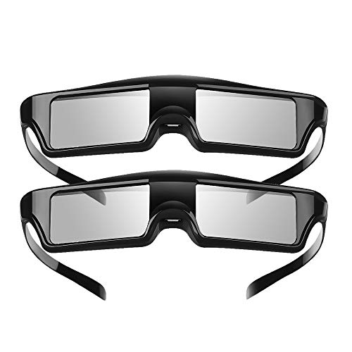 Elikliv Active Shutter 3D Glasses Rechargeable Bluetooth 3D Eyewear Compatible with Epson Projector, Sony Panasonic Samsung 3D TVs (Pack 2)