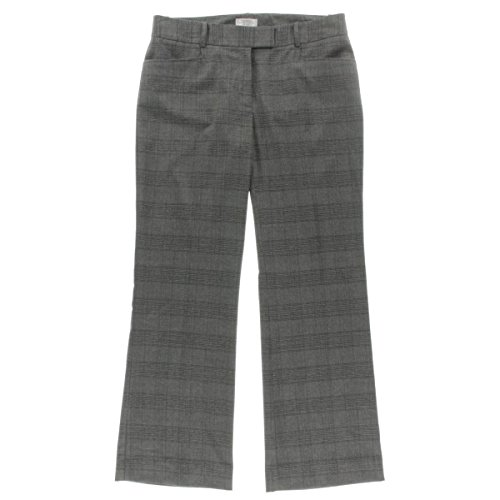 Tahari ASL Womens Petites Plaid Faux Back Pockets Dress Pants Gray 12P