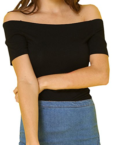 FsJoy Women's Sexy Slim Off Shoulder Blouse Top