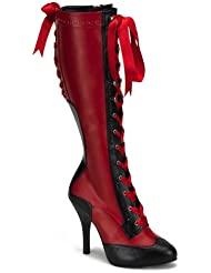4 1/2 Inch Heel Sexy Knee High Spectator Boot Two Tone With Ribbon Laces