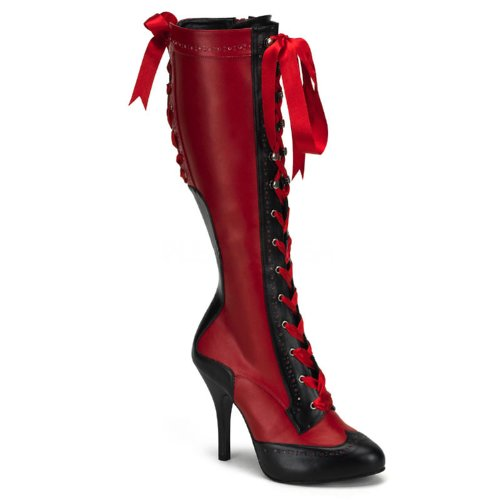 Inch 1/2 4 Boot Knee (4 1/2 Inch Heel Sexy Knee High Spectator Boot Two Tone With Ribbon Laces Size: 7 Colors: Red)